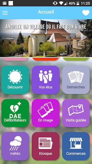 application mobile de la commune Andilly